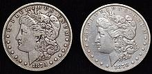 2 U.S. SILVER MORGAN SILVER DOLLARS DATED 1878 & 1879 ($2.00 FACE VALUE)