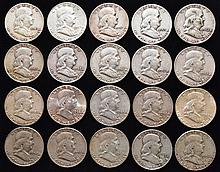 20 MISC. U.S. SILVER BEN FRANKLIN HALF DOLLARS ($10.00 FACE VALUE