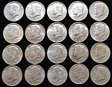 20 MISC. U.S. SILVER KENNEDY HALF DOLLARS POST 1964 40% SILVER ($10.00 FACE VALUE)