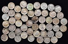 50 MISC. U.S. SILVER MERCURY & ROOSEVELT DIMES $5.00 FACE VALUE)