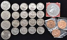 16 COPPER CLAD KENNEDY HALF DOLLARS AND 4 COPPER CLAD EISENHOWER DOLLAR COINS AND 4 MEDALLIONS INCLUDING INDEPENDENCE HALL ($12 FACE VALUE)
