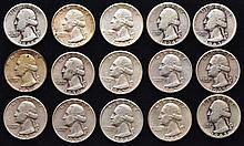 15 U.S. SILVER WASHINGTON QUARTERS ($3.75 FACE VALUE)