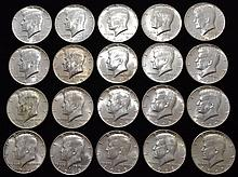 20 U.S. SILVER KENNEDY HALF DOLLARS POST 1964 - 40% SILVER ($10.00 FACE VALUE)