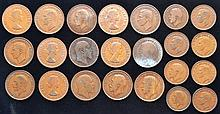 23 LARGE ENGLISH COPPER MISC. HALF PENNY & ONE PENNY COINS