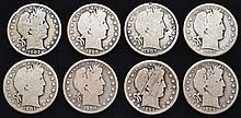 8 MISC. U.S. SILVER BARBER HALF DOLLARS DATED 1894-O, 1900, 1901, 1902, 1902-O, 1903-O, 1907-D, 1908-O ($4.00 FACE VALUE)
