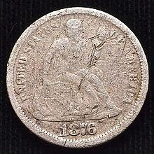 1876-CC U.S.S SILVER SEATED DIME
