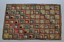 19TH CENT. - EARLY 20TH CENT. N.E. FOLK ART HOOKED RUG