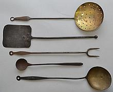 (5) MISC. 19TH CENT. BRASS AND IRON KITCHEN UTENSILS INCL. SKIMMER, SPATULA, FORK & LADLES