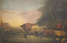 19TH CENT. OIL PAINTING ON WOODEN BOARD OF CATTLE IN A POND WITH HERDSMEN