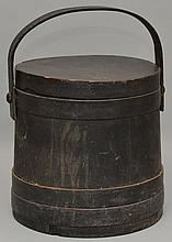 19TH CENT. N.E. PAINTED WOODEN FIRKIN