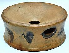 19TH CENT. PA. DECORATED GREY STONEWARE SPITTOON