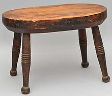 19TH CENT. N.E. GRAIN PAINTED CRICKET FOOT STOOL