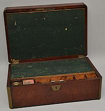 19TH CENT. BRASS BOUND MAHOGANY TRAVELLING LAP DESK