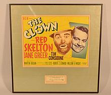 1953 MOVIE ADVERTISING LOBBY CARD FOR - THE CLOWN - STARRING RED SKELTON AND AUTOGRAPH