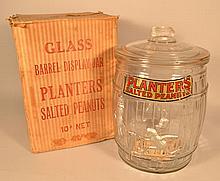 ORIGINAL MOLDED GLASS PLANTER'S PEANUTS ADVERTISING BARREL JAR WITH ORIGINAL BOX