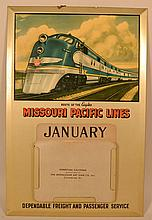 VINTAGE TIN LITHOGRAPH ADVERTISING PERPETUAL WALL CALENDAR FOR THE MISSOURI PACIFIC LINES RAILROAD