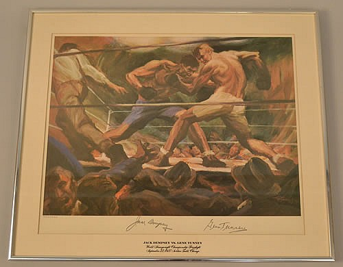 1974 LIMITED EDITION GUSTAV REHBERGER COLOR LITHOGRAPH SIGNED BY JACK DEMPSEY AND GENE TUNNEY