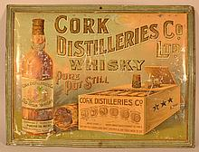 19TH CENT. TIN LITHOGRAPH ADVERTISING SIGN FOR CORK DISTILLERIES CO. LTD. WHISKEY