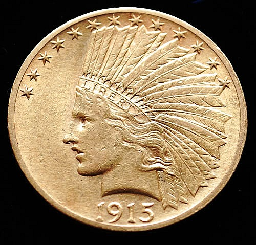 1915 U.S. GOLD INDIAN HEAD/EAGLE $10 COIN