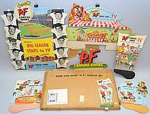 HOOD 1956 BASIC P-F DISPLAY SET ADVERTISING KIT WITH BIG LEAGUE STARS ON T.V. DIE CUT SIGN