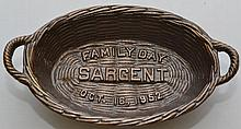 1952 PAINTED CAST IRON SARGENT FAMILY DAY SOUVENIR DOUBLE HANDLED BASKET