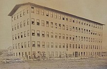 19TH CENT. FRAMED ALBUMIN PHOTOGRAPH OF THE JOHN SHAW 2D SHOE MANUFACTURER FACTORY IN LYNN MASS