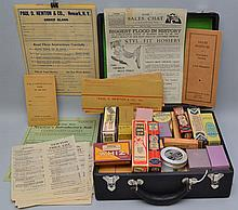 PAUL O. NEWTON & CO. INC. STOCKED TRAVELING SALES MAN'S SAMPLE CASE