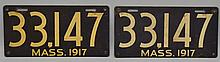PAIR OF 1917 PAINTED SHEET METAL MASS. AUTOMOBILE LICENSE PLATES