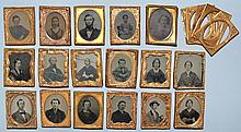 (17) MISC. 19TH CENT. 1/9TH PLATE AMBROTYPE AND TIN TYPE PORTRAIT PHOTOGRAPHS