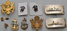LOT OF VINTAGE BUCKLES, BADGES AND PINS OF THE U.S. ARMY & NAVY
