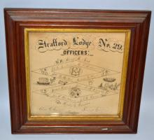 LATE 19TH CENT. FRAMED N.H. MASONIC DOCUMENT