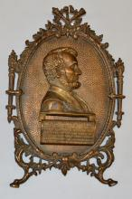ABRAHAM LINCOLN HANGING - EASEL BACK BRONZE MEMORIAL PLAQUE