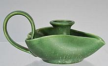 HAMPSHIRE POTTERY ARTS AND CRAFTS MATTE GREEN GLAZED CANDLESTICK
