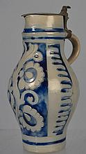 INCISED AND COBALT DECORATED STONEWARE FLAGON WITH PEWTER LID