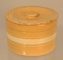 BANDED YELLOWWARE CANNISTER WITH COVER