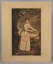 19TH CENT. EUROPEAN HAND-COLORED LITHOGRAPH DEPICTING A MAIDEN FEEDING CHICKENS