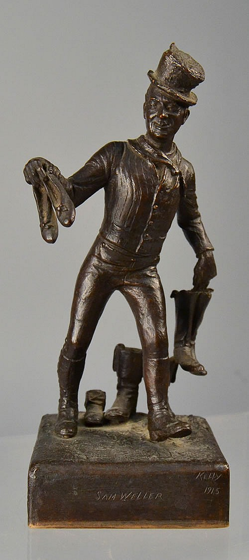 1915 JAMES EDWARD KELLY BRONZE SCULPTURE OF SAM WELLER WITH GORHAM FOUNDRY MARK