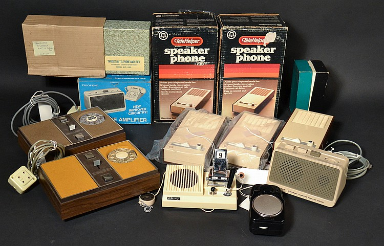 (8) DIFFERENT VINTAGE SPEAKER PHONES OR TELEPHONE AMPLIFIER ATTACHMENTS