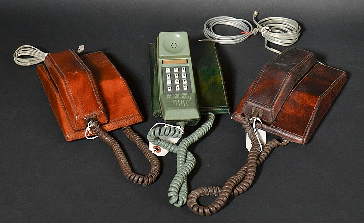 (3) DIFFERENT VINTAGE NORTHERN T ELECOM CONTEMPRA TOUCHTONE DESK TELEPHONES WITH LEATHER EXTERIORS
