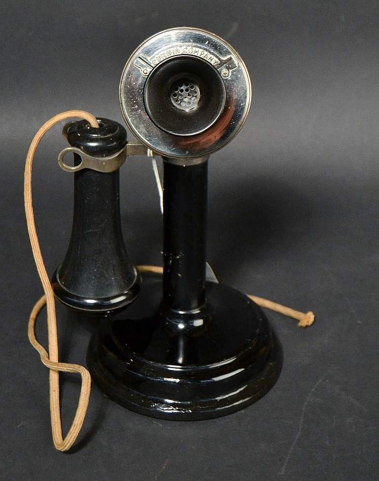 VINTAGE CORWIN CO. - CHICAGO - CANDLESTICK TELEPHONE WITH STEPPED BASE