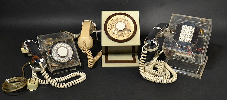 (3) DIFFERENT VINTAGE TELECONCEPTS PLASTIC GEOMETRIC TELEPHONES