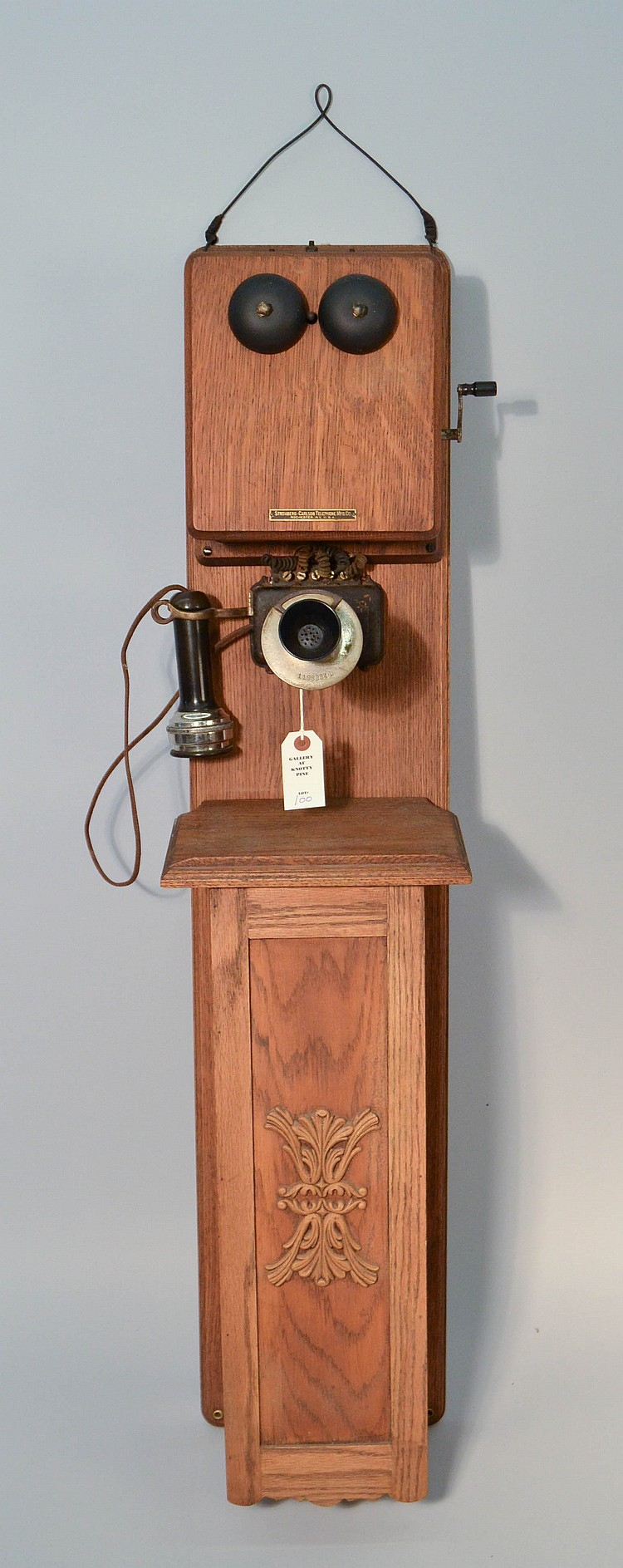 VINTAGE STROMBERG CARLSON TANDEM TYPE OAK CASED WALL TELEPHONE WITH ORIGINAL MARKED TOP BOX