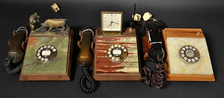 (3) DIFFERENT VINTAGE DECORATOR SLANT FRONT ROTARY DESK TELEPHONES