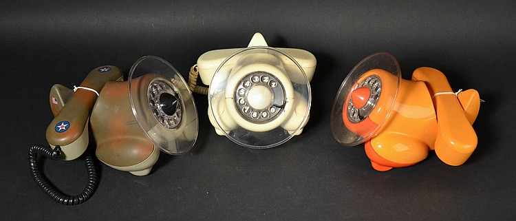 (3) DIFFERENT VINTAGE NORTHERN TELECOM - ALEXANDER GRAHAM PLANE - COLORED PLASTIC TELEPHONES