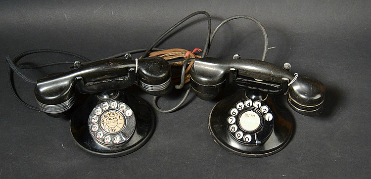 "(2) DIFFERENT VINTAGE AUTOMATIC ELECTRIC CO. NO. ""1"" TYPE DESK MONOPHONE TELEPHONES WITH ROTARY DIALS"