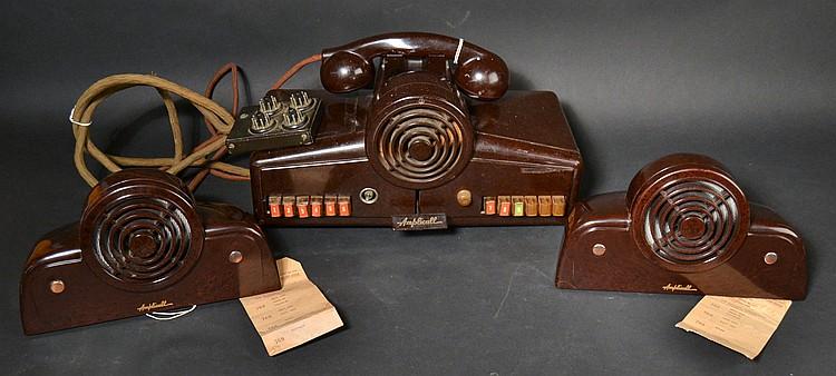 "VINTAGE RAULAND ""AMPLICALL"" MODEL ""3412PH"" PLASTIC INTERCOM STATION - WITH KELLOGG TELEPHONE HANDSET"