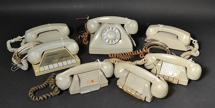 (7) MISC. VINTAGE GREY PLASTIC INTERCOM TELEPHONES