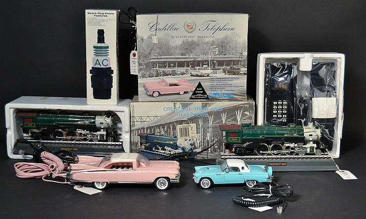(6) DIFFERENT VINTAGE TRAIN AND AUTOMOBILE DESIGN NOVELTY TELEPHONES