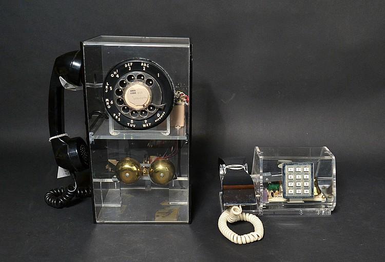 (2) DIFFERENT VINTAGE TELECONCEPTS TRANSPARENT & BLACK PLASTIC GEOMETRIC TELEPHONES