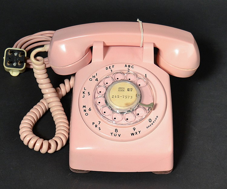 "VINTAGE WESTERN ELECTRIC PINK PLASTIC ROTARY DESK TELEPHONE - MODEL ""5302"""